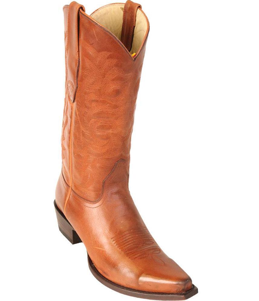 Los altos Genuino Cuero Superior De Miel botas de Cowboy Western EE SNIP Toe