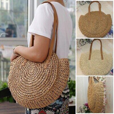 Women Straw Bag Hand Beach Rattan Shoulder Bags Bamboo Bag Handbag Crossbody