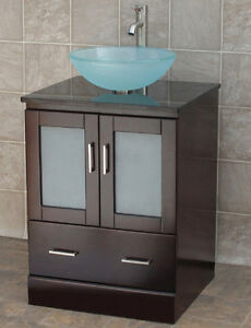 details about 24 bathroom vanity cabinet stone top vessel sink mo2