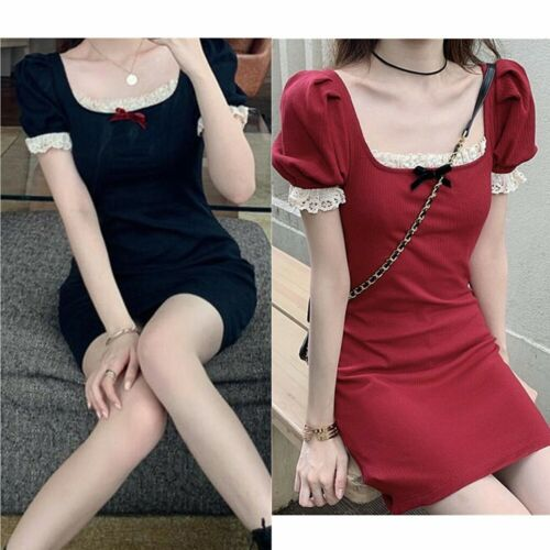 Sweet Women Puff Sleeves Gothic Dress Lace Square Collar Short Knitted Skirt