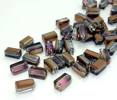 72pcs chocolate rose Rectangular crystal glass LOOSE BEADS 8MM
