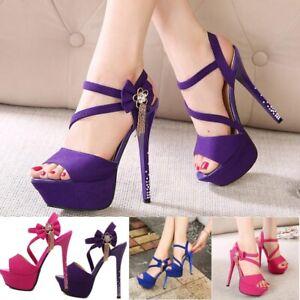 sexy women diamante buckle high heels stiletto platform