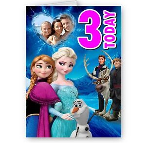 Enjoyable Personalised Frozen Anna Elsa Cast Photo Age A5 Happy Funny Birthday Cards Online Barepcheapnameinfo