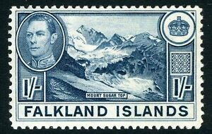 FALKLAND ISLANDS-1938-50 1/- Dull Greenish Blue Sg 158a MOUNTED MINT V12031