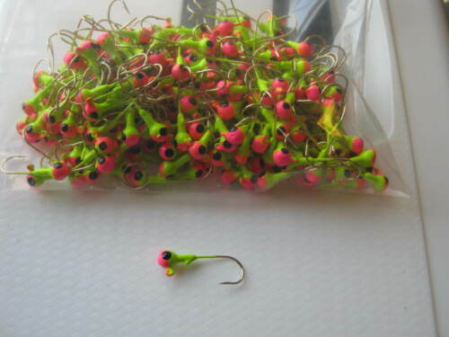 Painted Jig Heads 1//8oz  #2 ec gold 250 ct pink//chart.