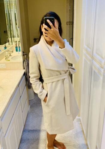 MANGO Wool Coat - Small Belted Wrap Coat