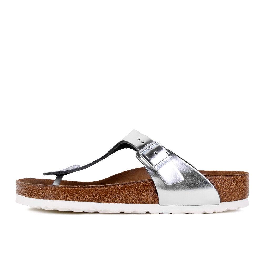 Birkenstock Gizeh NL WB metallic silver zapatos sandalias tira dedo plata