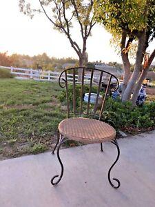 Vintage Original French Garden Terrace Patio Wicker Chair Wrought Iron Legs Ebay