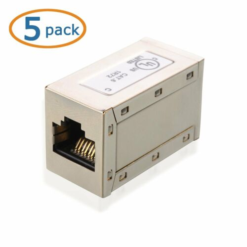 RJ45 Shielded Metal Cat6 In-Line Couplers in Silver 5 Pack Cable Matters®