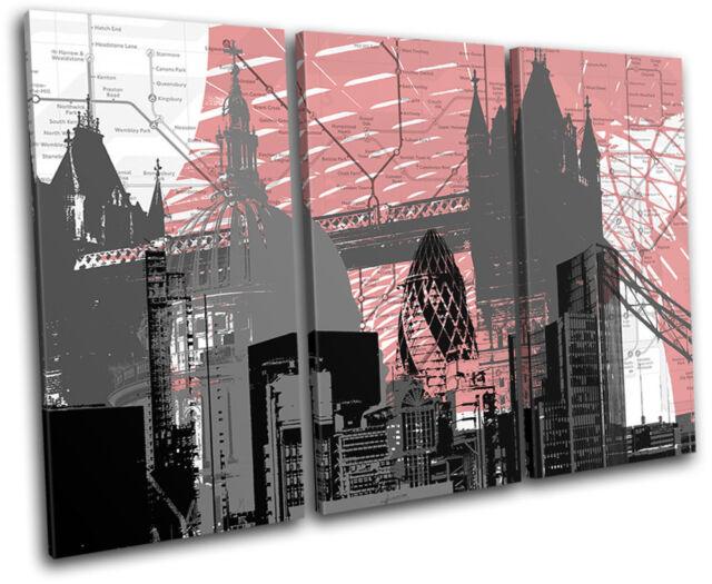 London Britain Abstract Modern Urban TREBLE CANVAS WALL ...