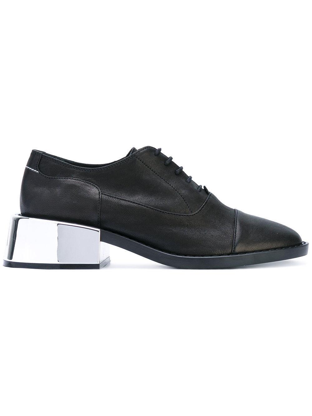 NEW maison martin margiela S40WQ0040 metallic heel lace-up chaussures noir