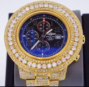 34-Carats-Diamond-Breitling-Super-Avenger-2-Watch-A13371-14k-Gold-Plated-ASAAR