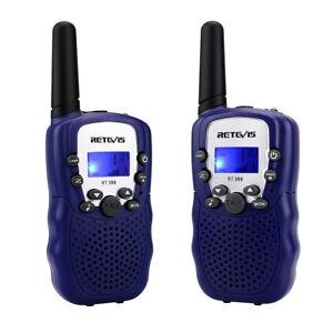 2x Retevis RT388 Sky Blue Kids Walkie Talkie UHF LCD+Flashlight 2Way FM Radio US