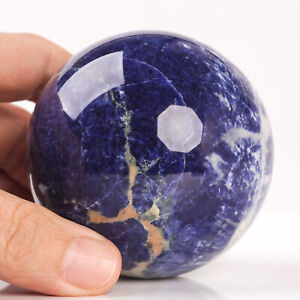 462g 69mm Large Natural Blue Sodalite Crystal Sphere Healing Ball Chakra