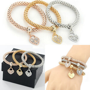 1 Set Womens Fashion Bracelet Gold Silver Rhinestone Bangle Charm Love Jewelry