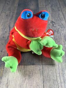TY-RIBBIT-Frog-Pillow-Pal-Red-Green-Plush-1998-Plush-Stuffed-Animal-13-In