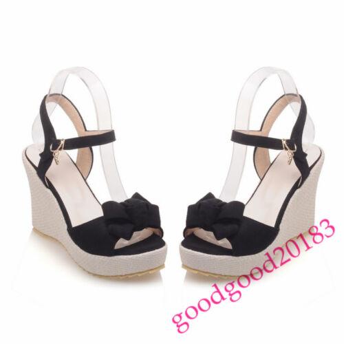 fashion women high wedge heel open toe sandals summer slingbacks shoes bowtie 18