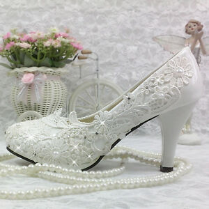 Lace-white-crystal-Wedding-shoes-Bride-flats-low-high-heel-wedge-size-5-10