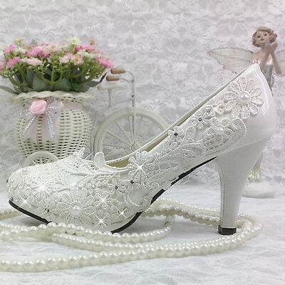 Lace White Crystal Wedding Shoes Bride Flats Low High Heel Wedge Size 5 10 Ebay