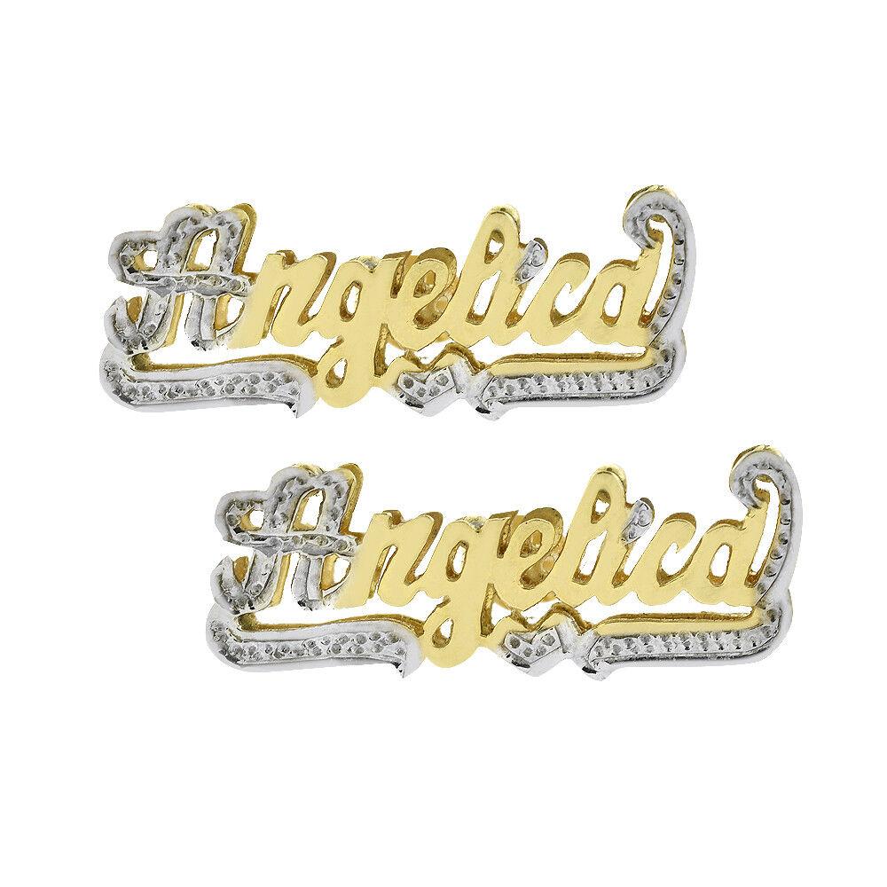Nameplate 'Angelica' Stud Earrings 14K Two Tone gold