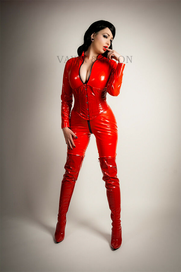Vawn and Boon-Premium Red Red Red Pvc Catsuit Taille 10 12 14 16 S M L XL XXL noir zip b1bf2b