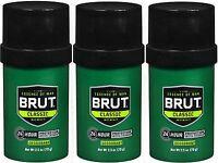 Brut Deodorant Solid Round Original Fragrance 2.50 Oz (3 Pack)