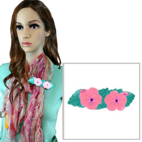 Vintage Pink Hibiscus Flowers Painted Wood Scarf Slide Clip Ring or T Shirt Tie