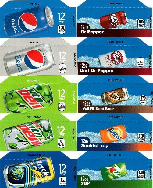 10 pepsi mixed set 12oz can small button flavor labels for soda