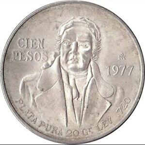 Coin Mexico 100 pesos Morelos 1977-78 silver