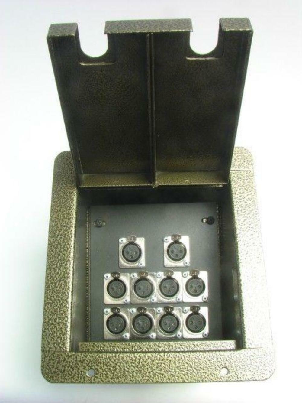 ProCraft Pro Audio Recessed Stage Floor Pocket Box w  10 XLR Channel Gold Vein