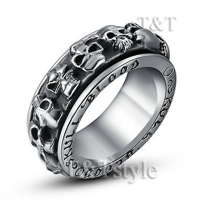 High Quality TT 316L Stainless Steel Multi Skull Spiner Ring Size 7-11 (RZ34)