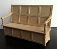 Tudor Bench, Dolls House Miniature. Doll House Furniture Seating Church, Settle