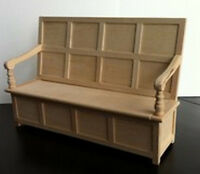 Tudor Bench, Dolls House Miniature. Doll House Furniture Seating Church, Settle