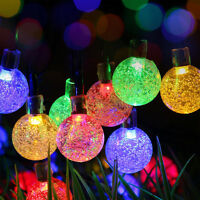 30 LED Multi Colour Crystal Ball Globe Lights Solar Outdoor String Light Patio