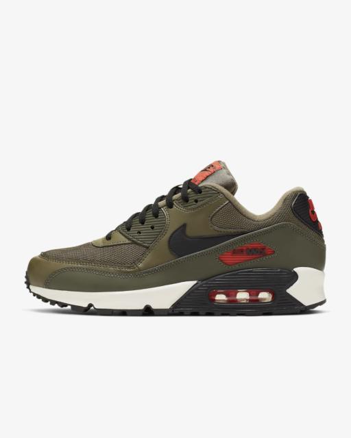 Men's Nike Air Max 90 Essential Running Shoes Medium OliveTeam OrangeCargo