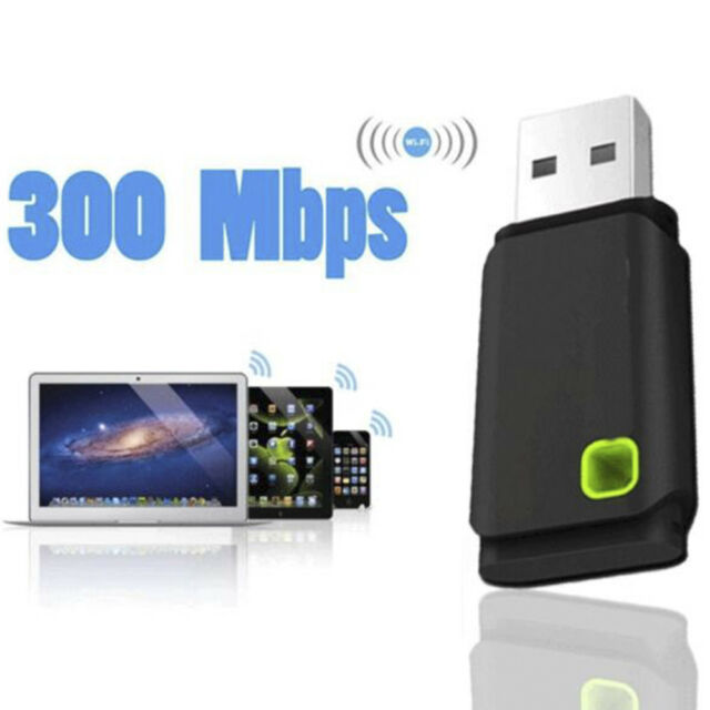 Wireless WiFi Network USB Receiver Card Adapter 300Mbps For Desktop PC Laptop CA