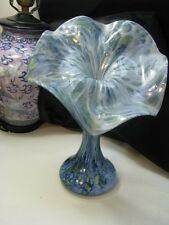 MILLEFIORE  FRENCH JACK IN THE PULPIT VASE BLUES AND GREENS MID CENTURY 1950