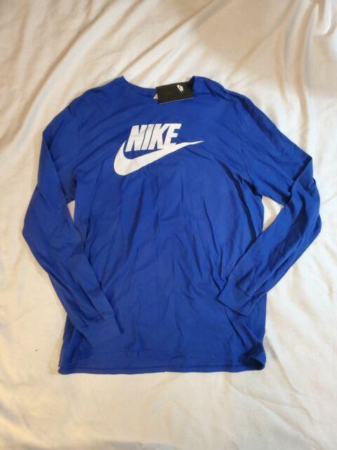 NWT Nike The Nike Tee Athletic Cut Long Sleeve Blue  T-Shirt Men's size XL $30