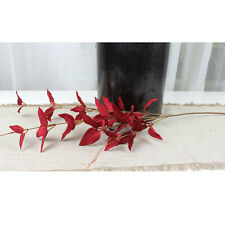 1 Bunch Artificial Silk Leaf Plant Home Office Flower Bouquet Decor - Red