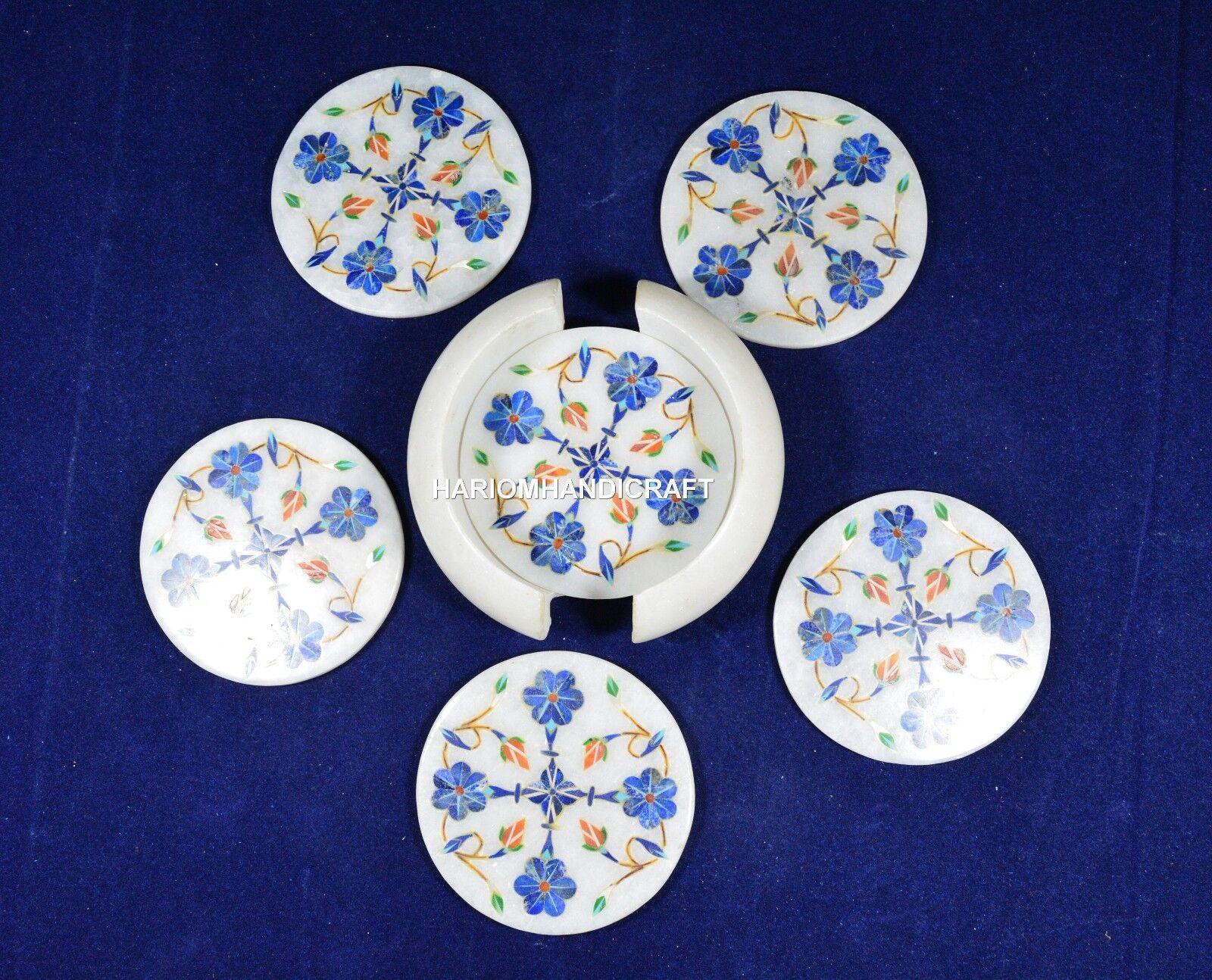 Marble Lapis Beautiful Stone Coaster Sets Mosaic Inlaid Indoor Decoration H5565
