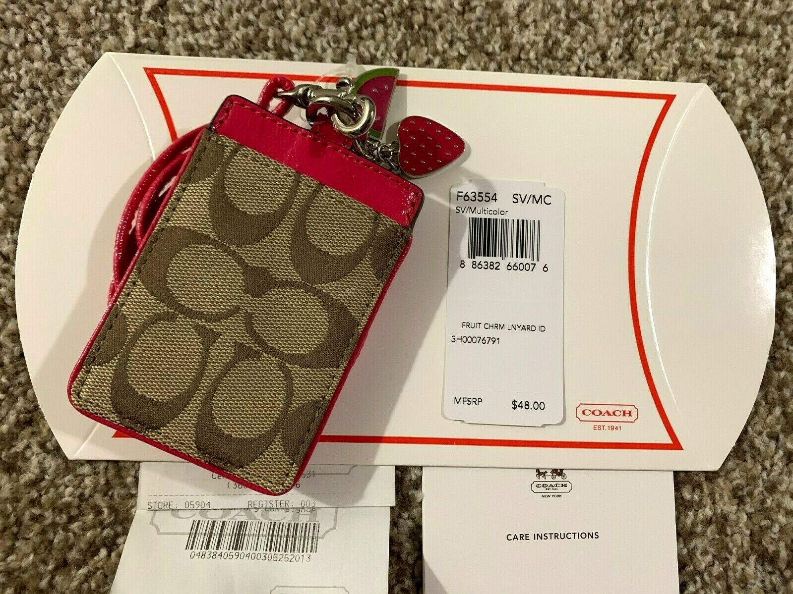 Coach ID Badge Lanyard w/ Card Slot in Brown Signature Canvas + Fruit Charms NWT