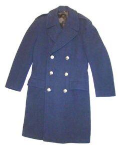 VTG-40-039-s-1949-Korea-WWII-USAF-Air-Force-Pea-Coat-Overcoat-Wool-Blue-Military-35L