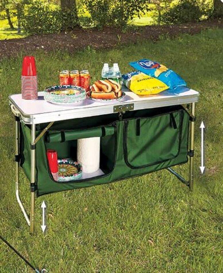 Fold Away Folding Portable Camp Table Folding Away Camp Kitchen Table w/ Storage Aluminum f27456