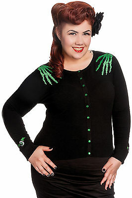 Hell Bunny Plus Size Gothic Black & Green Doomed Cardigan 2X 3X 4X