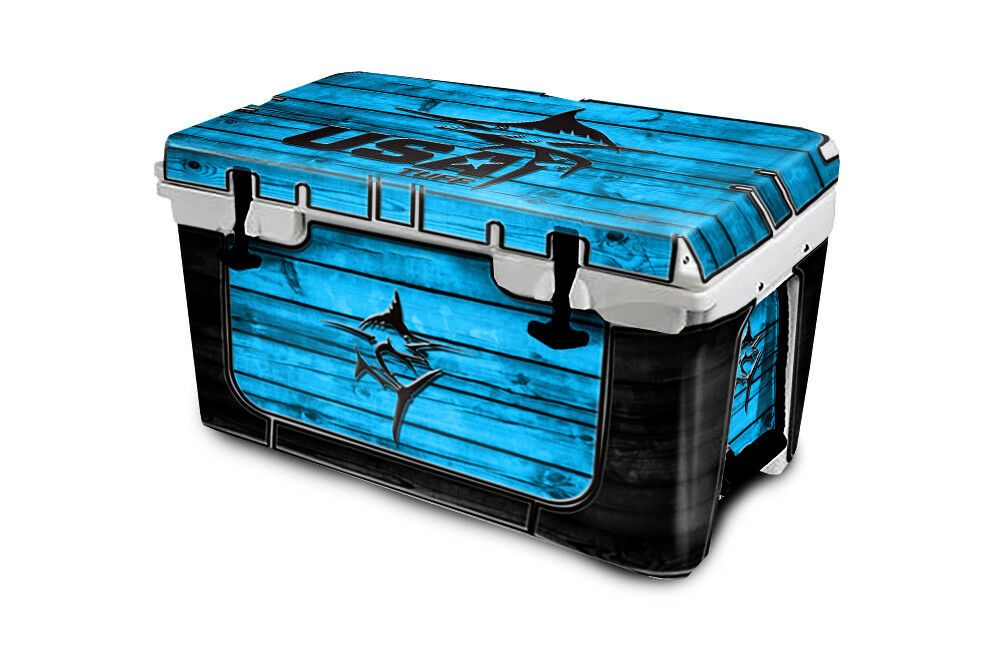 USATuff Cooler Wrap Decal 'Fits New Mold' RTIC 65QT FULL Marlin Wood bluee