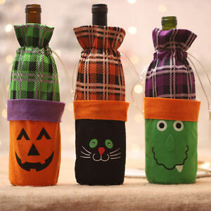 Details About Halloween Wine Bottle Bag Candy Stack Bag Cover With  Drawstring Closure