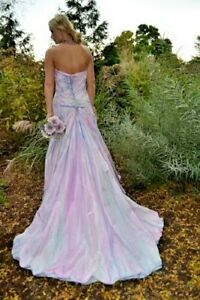 bohemian beach wedding dress silk pink blush white purple