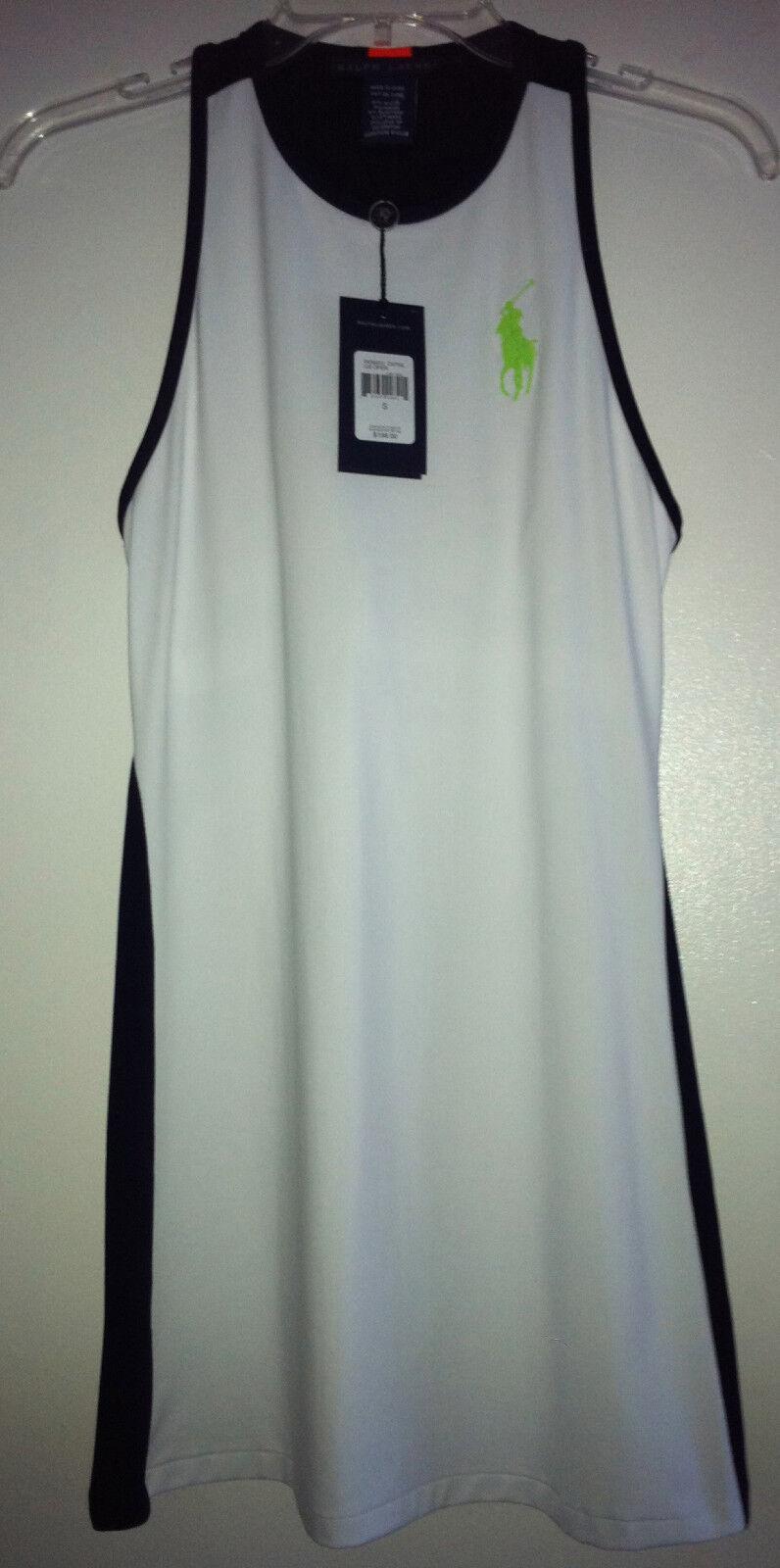 198 NWT Ralph Lauren Tennis Dress US Open White Navy bluee M XL Big Pony RL New