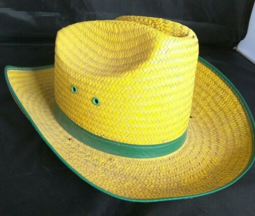 Old Straw Hat Farm Garden Lawn Work Yellow and Gr