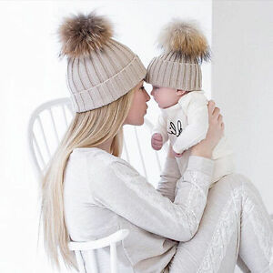 7ddc2eb4860 Fur Pom Bobble Hat 2PCS Set Mom Kids Baby Boys Girls Winter Warm ...